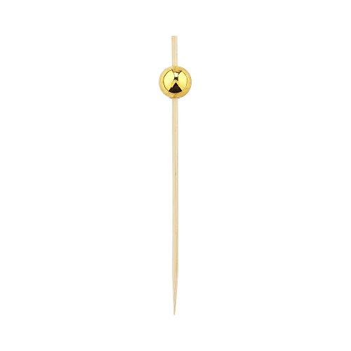 Gold Sphere Pick, Acrylic Gold Ball Skewers, Food Picks, Sticks - 4'' - Perfect for Serving Appetizers and Cocktail Garnishes - Natural Color - 1000ct - Restaurantware by Restaurantware (Image #1)