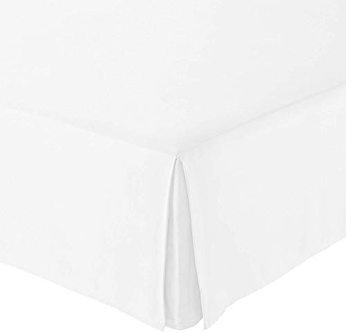 "Unique Beddings Egyptian Cotton Bed-Skirt (Queen, White) with 15"" Inch Drop Length - 100% Long Staple Cotton - Pleated Split Cornor Bed Skirt (Style : Solid)"