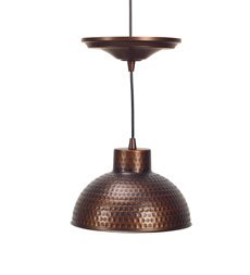 Plow & Hearth Screw-In Pendant Light with Adjustable Hanging Cord - Textured Steel - Hammered Copper Finish - 10