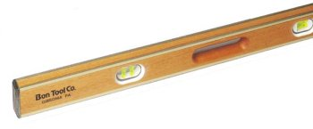Bon 11-382 24-Inch Mahogany Brass Bound level Hand Grooves, Yellow Vials