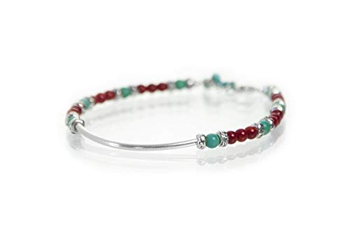 (Sterling and Beaded Gemstone Bangle Bracelet Red Bamboo Coral Blue Turquoise 7.5