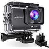 Crosstour CT9500 Real 4K Action Camera Underwater Camera (4K 20MP WiFi Underwater 40M Waterproof Anti-Shake Helmet Camera 2 1350mAh Batteries)