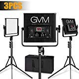 GVM 3pcs LED Video Lighting kit and Stand Lighting Kit, Dimmable Bi-Color 520pcs Photography Lights Studio Aluminum Alloy Heat Dissipation Shell with Suitcase, and Easy to Carry…