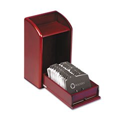 Rolodex™ Wood Tones Photo Frame Business Card File Holds 300 2 1/4 x 4 Cards, Mahogany by Rolodex