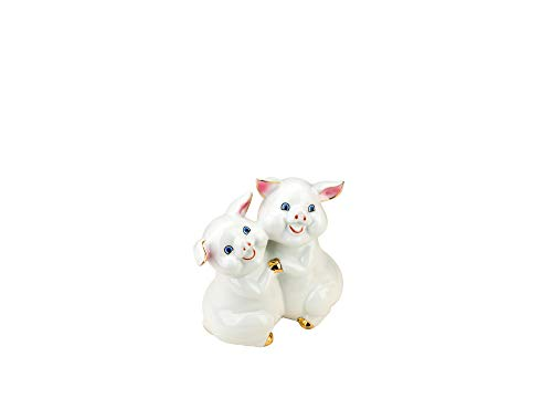(Quality Import P102, Porcelain Pigs, 2019 Chinese Zodiac Year of Swine, Feng Shui Enamel Statuette, Piglets Collectible Figurine)
