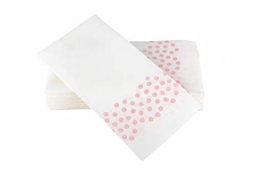 "(Simulinen Hand Towels – Decorative Light Pink DOTS – Durable, Cloth Like & Disposable – Guest Towels & Bathroom Towels (17""x12"" – Box of 100))"