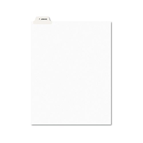 Avery 11949 Avery-Style Preprinted Legal Bottom Tab Divider, Exhibit J, Letter, White (Pack of 25)