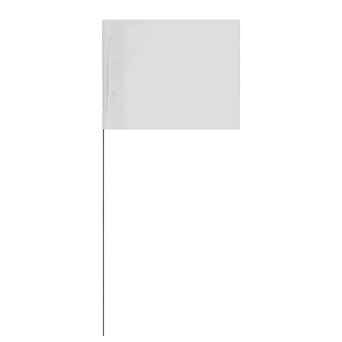 Tape Planet Marking Flags White 4″ x 5″ Flag with 21″ Wire Staff (100 Flags) For Sale