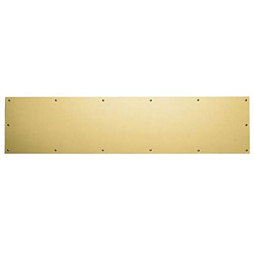Baldwin 20000600834 Satin Brass and Brown 8 Inch x 34 Inch Solid Brass Kick Plate