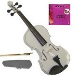 GRACE 1/2 Size White Acoustic Violin with Case and Bow+Free Rosin+Merano Brand E String