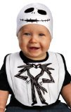 [Disguise Drool Over Me Tim Burtons The Nightmare Before Christmas Jack Skellington Infant Bib and Hat Costume Accessory, White/Black, 0-12] (Jack White Halloween Costume)