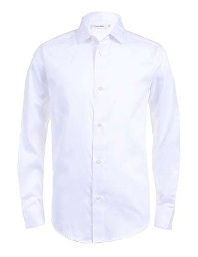 Calvin Klein Boys Long Sleeve Sateen Dress Shirt, White, 10/12 Husky