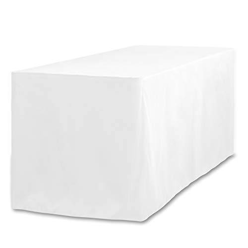LinenTablecloth 6 ft. Fitted Polyester Tablecloth White