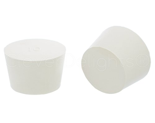 3 Pack - CleverDelights Solid Rubber Stoppers - Size 10 - 53mm x 44mm - 32mm Long - White Lab Plug - 53 Mm