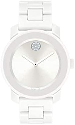 Movado Women's BOLD Ceramic Watch with a Crystal-Set Dot, White/Silver (Model 3600534)