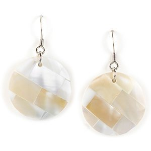 Coyote Circle Earrings - Jody Coyote Earrings PLZ-0713-04 Palazzo Collection White Shell Tile Circle