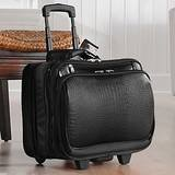 Joy Mangano Wheeled Briefcase Luggage Black Croco Embossed Exterior Clothes It All, Bags Central
