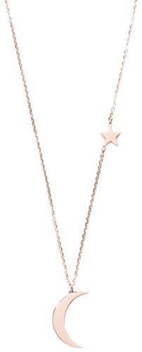 Half Moon Pendant - Happiness Boutique Star and Moon Pendant Delicate Chain Necklace | Rose Gold Necklace with Half Moon Charm Nickel Free