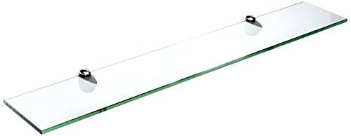 Spancraft Glass Peacock Glass Shelf, Chrome, 8 x 18