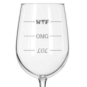 Fineware LOL-OMG-WTF Funny Wine Glass - Finally a Wine Glass for Every Mood! 16 oz Libbey Wine - Glasses T
