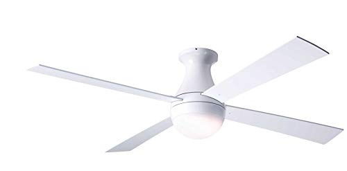 """Modern Fan Company Ball Gloss White 42"""" Flush Mount Ceiling Fan with White Blades and Fan & Light Wall Control"""
