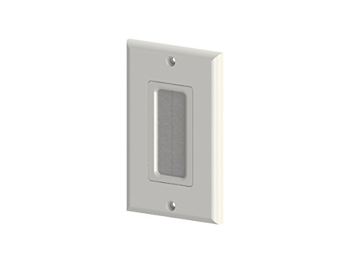Monoprice 1-Gang Brush Wall Plate - White | Easily Holds Up to 6 - Dcor Plate Wall