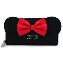 Loungefly x Disney Minnie Ears Bow Zip Around Wallet (Black, One Size)
