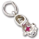 Rembrandt Charms Baby Shoe Charm with Simulated Garnet, 14K White Gold ()