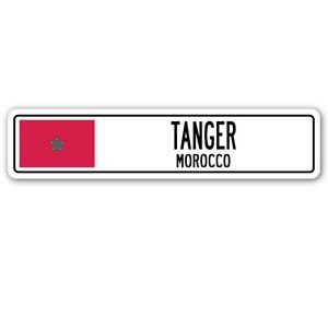 TANGER, MOROCCO Street Sign Sticker Decal Wall Window Door Moroccan flag city country road wall 8.25 x 2.0 - Sticker Graphic - Auto, Wall, Laptop, - 2 Tanger