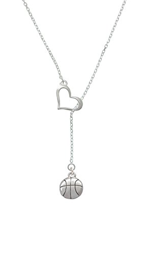 Delight Large Basketball Heart Lariat Necklace
