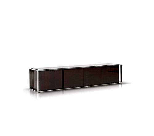 Furniture Style Lacquer Finish Living Room Tv Entertainment Center with Stainless Steel Trim Ebony Premium Office Home Durable Strong