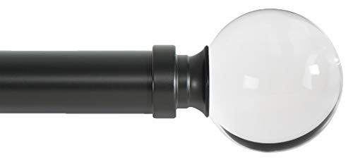 Ivilon Drapery Treatment Window Curtain Rod - Acrylic Ball 1 inch Pole. 48 to 86 Inch. Black (Curtain Rod With Glass Ball)