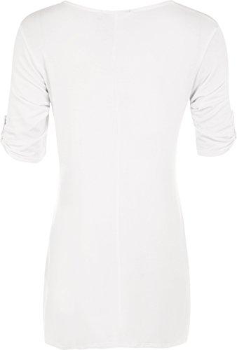 Grandes tailles Hauts WearAll Blanc avec 42 un Tunique clout courtes manches 56 vase croix Femmes p148pv