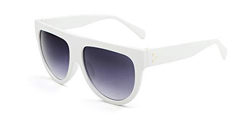 (Gnzoe Sunglasses Thick Flat Frame Sunglasses for Men Women Sun Protection White Gray)