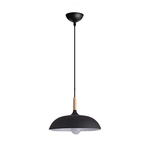 KESAI HomeDeco Lampara Colgante Moderna, lampara Colgante de Aluminio y Madera para Mesa de Comedor, E27 iluminacion Colgante Redonda de macarron para Comedor, Dormitorio y cafeteria,Negro,40CM