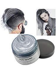 Hair Coloring Wax, Ash Grey Disposable MOFAJANG Instant Matte Hairstyle Mud Cream Hair Pomades for Kids Men Women to Cosplay Nightclub Masquerade Transformation -