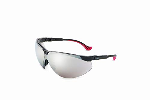 (Uvex by Honeywell Genesis XC Safety Glasses, Black Frame with Silver Mirror Lens & Ultra-Dura Anti-Scratch Hardcoat (S3308))