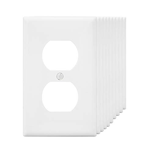 (Wall Plates 1-Gang Duplex Device Receptacle Wallplate, Standard Size, Thermoplastic Nylon, Device Mount, White MICMI J59 (1 Gang, White 10pack))