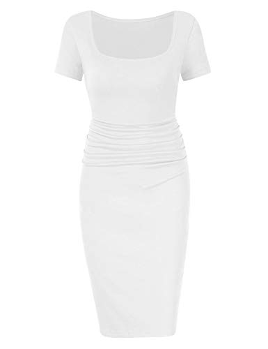 BORIFLORS Women's Casual Basic Ruched Bodycon Dresses Short Sleeve Sexy Club Midi Dress,X-Large,White ()