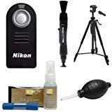 Nikon ML-L3 Wireless Infrared Shutter Remote Control + Tripod + Nikon Cleaning Kit for D3300, D3400, D5500, D7100, D7200, D610, D750, Df Digital Camera