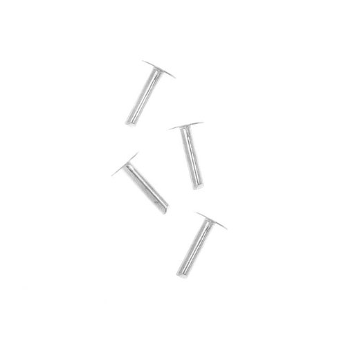 Beadaholique Sterling Silver 1/4 Inch Nail Head Rivets for Leather 1.3mm Diameter, 4 Pieces