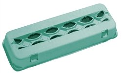 Teal Colored Blank 12-Egg View Top Paper Pulp Carton - 125 Pack ()