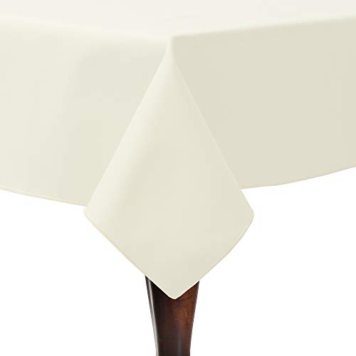 Ultimate Textile Poly-Cotton Twill 60 x 60-Inch Square Tablecloth Ivory Cream ()