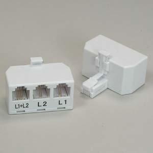 Line Phone Coupler - Installerparts RJ11 6P4C Line Splitter - Line1/Line2/Line1+Line2 - White