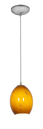 Brandy FireBird Glass Pendant - 1-Light Pendant - Cord - Brushed Steel Finish - Amber Sky Glass Shade