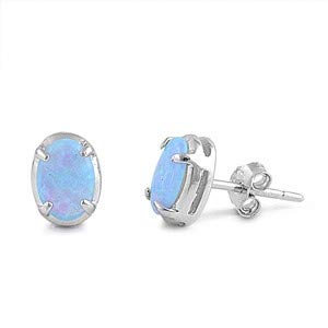 Glitzs Jewels 925 Sterling Silver Created Opal Earrings Cute Jewelry Gift Light Blue