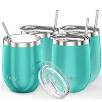 Stainless Steel Stemless Wine Glasses - THILY Triple Vacuum Insulated Cute Travel Tumbler Cup with Spill-Proof Lid, Reusable Straw, Keep Cold & Hot for Wine, Coffee, Birthday Xmas Gift, 4 Pack, Teal by THILY (Image #2)
