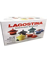 Colorful Stoneware Mini Casserole Pots With Lids - Set of Six ()
