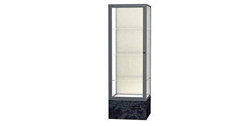(Monarch Series Floor Display Case Base Color: Silver Swirl, Frame Color: Satin, Case Backing: Plaque Fabric )