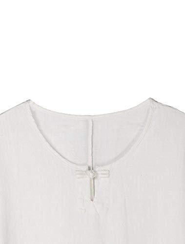 Manica Giovane Monocromo Bluse Collo Marca Camicie Button 3 Donna Accogliente Lino Eleganti Camicia Bianca Shirts Rotondo 4 Mode BOLAWOO Estivi di Bluse Baggy Casual aYRqO